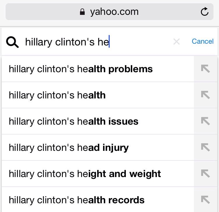 Search terms of Hillary Clinton's health trends